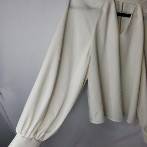 Leith Tops - Leith Ivory Key Hole Blouse Long Sleeve Size Small